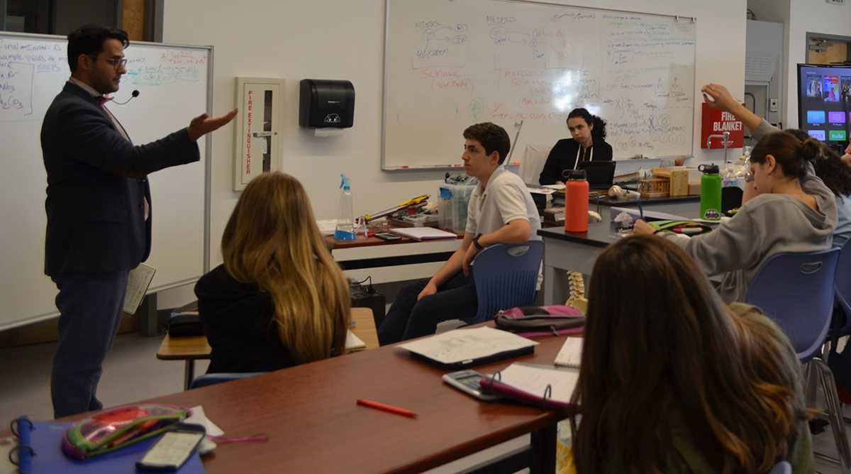 SAS Biology teacher and year-old Head of Science Department taught an advanced Chemistry class, which was established mid-year for sophomores.