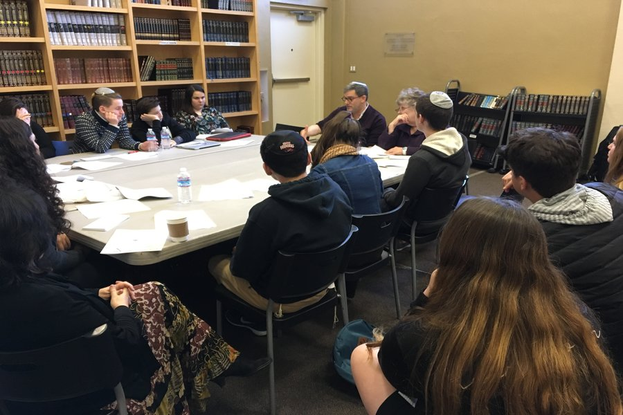 STUDY:  Attorney Joseph Lipner applied the First Amendment to school newspapers in his talk, titled Freedom of the Press in Religious High Schools, in the Beit Midrash of B'nai David-Judea.