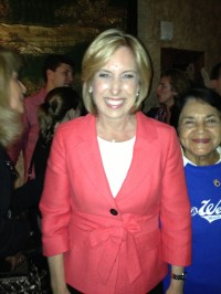 STILL SMILING: City Controller Wendy Greuel stayed optimistic - and friendly - as the vote tally turned toward Councilman Eric Garcetti on Election Night.  Her party was at The Exchange in downtown Lo Angeles.