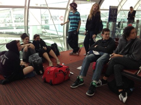 WAITING: After missing a connection when their flight from LA arrived late, seniors passed the time at Charles de Gaulle Airport in Paris.