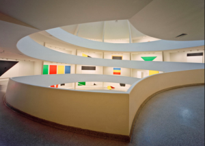 FAMILIAR: An exhibit of paintings by Ellsworth Kelly along the ascending circular ramps of the Guggenheim Museum in New York in 1997.