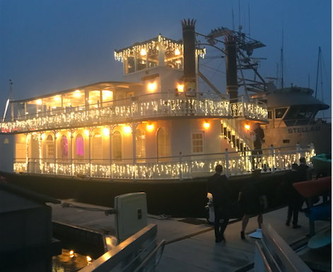 PIONEERS: Members of the class of '17 prepared to board the Scarlett Belle for a two-hour cruise in Channel Islands Harbor. They are the first Shalhevet seniors to forego prom for a chaperoned, alcohol-free culminating event.