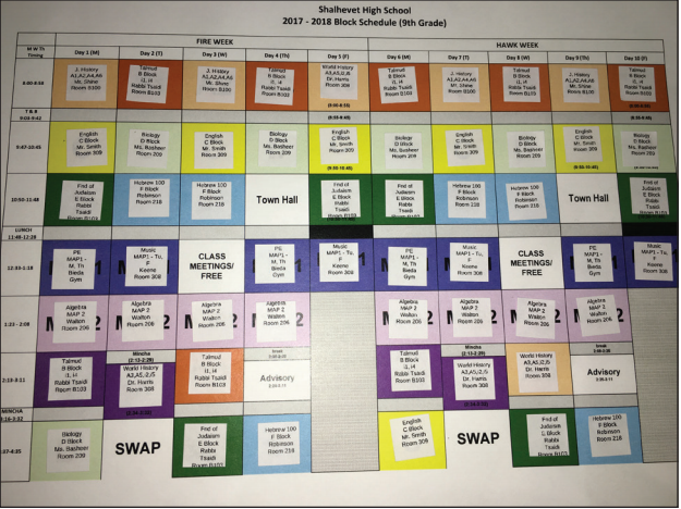 UPDATED:  Lunch is 15 minutes longer for 9th grade than last year but MAP period still exists. Freshmen arranged their schedules as sticky tiles on a grid during orientation Aug. 24.